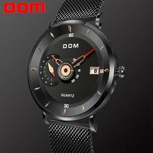 DOM Mens Watches To Luxury Brand Men Steel Sports Watches Mens Quartz Black Clock Waterproof Military Watch Clock M 1299BK 1M