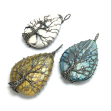 LE SKY Tree of Life Wire Wrap Water Drop Necklace & Pendant Reiki Natural Gem Stone Women Men Jewelry 30x50mm