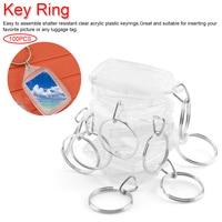 100pcs/set Rectangle Blank Insert Photo Picture Frame Split Ring Keychain DIY Split Ring Key Chain Gift