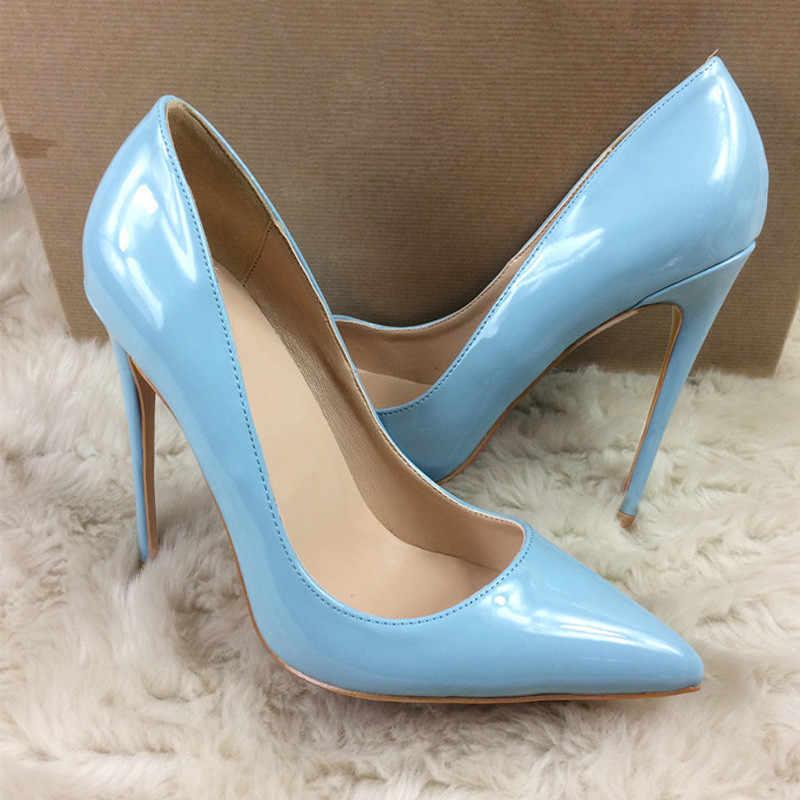 Light blue Women pumps pointed toe thin