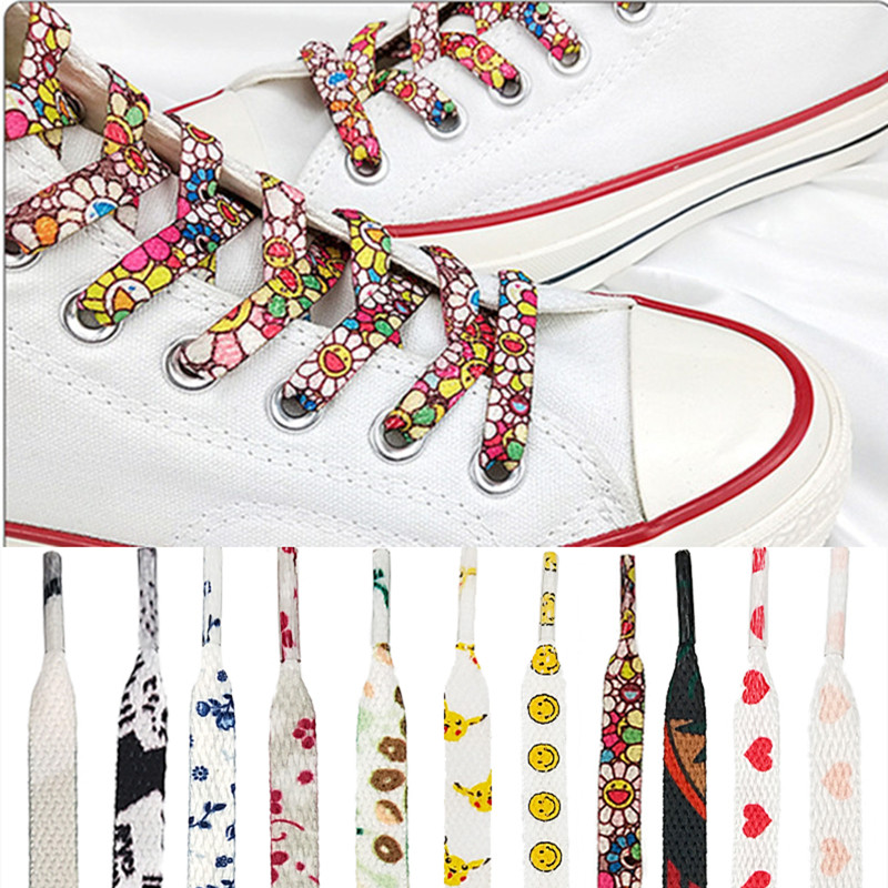 Individual Pattern High-top Canvas Sneakers Shoelaces Colorful Cartoon 11 Colors Fashion Women Men Shoelaces Dropship