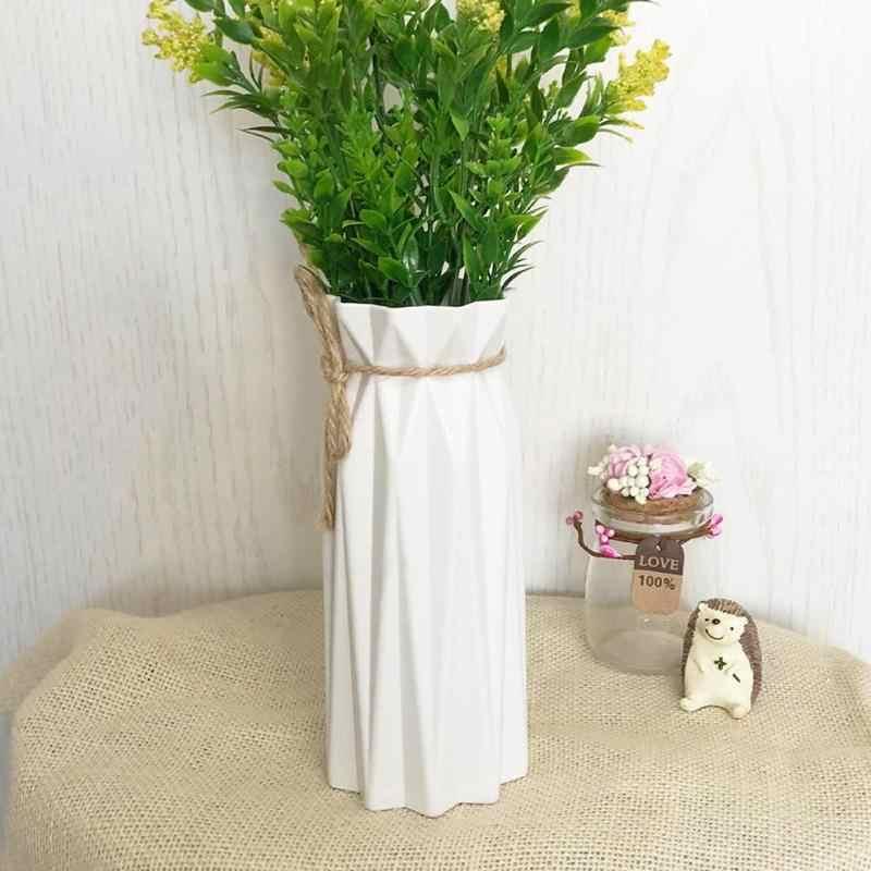 VKTECH 1 قطعة مزهرية بلاستيكية اوريغامي أبيض تقليد أصيص ورد سيراميك سلة للزهور زهرية ديكور المنزل الشمال الديكور