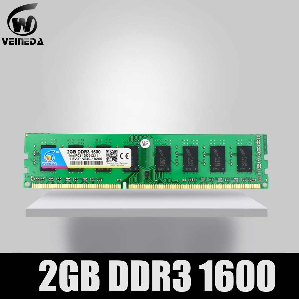 VEINEDA Memory Ram 2 gb <font><b>ddr3</b></font> <font><b>1066Mhz</b></font> Compatible 1333 dimm ram ddr 3 2gb PC3-8500 for Intel And AMD Desktop motherboard image