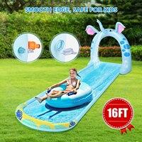4,9 M Surf Wasser Rutsche mit Elefanten Arch Spray Rutsche Aufblasbare Nicht-slip Matte für Kinder Im Freien Wasser Partei spielzeug für Rasen Garten