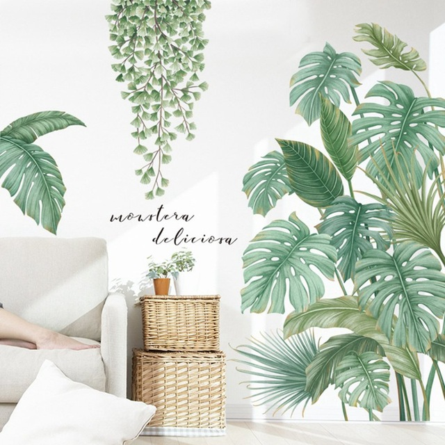 1Pc DIY Tropical Palm Leaves Wall Sticker Modern Art Decal Vinyl Mural Wall Stickers For Kids Rooms Home Decor 5