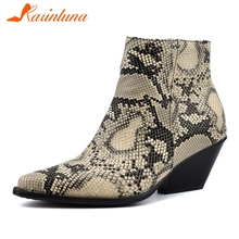 цена на KARINLUNA 34-48 Brand Designe Snake Veins Booties Lady Pointed Toe Add Fur Ankle Boots Women Winter Warm Med Heels Shoes Woman