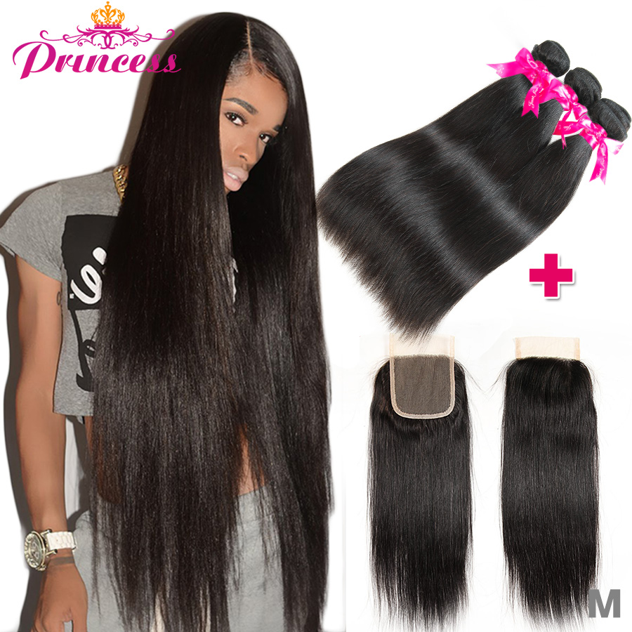H62db312736f94c289c8e9e7cb6b8d513W Beautiful Princess Peruvian Straight Hair 3 Bundles With Closure Double Weft Remy Human Hair Bundles With Lace Closure