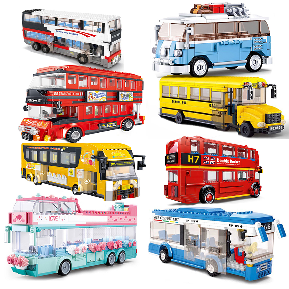 bus city technic UK london building blocks school vehicle friends wedding car traffic bricks double decker station girls gifts(China)