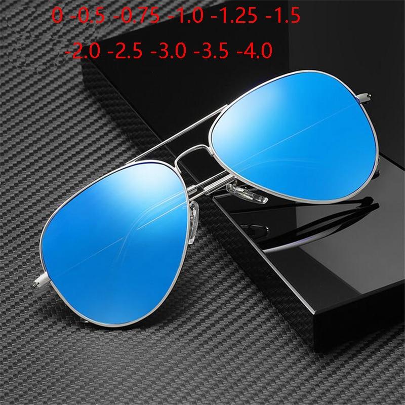 Cat Eye Prescription Sunglasses Men Polarized Classic Myopia Lens Metal Pilot Sunglasses Women  0 -0.5 -0.75 -1.0 -1.25 To -4.0