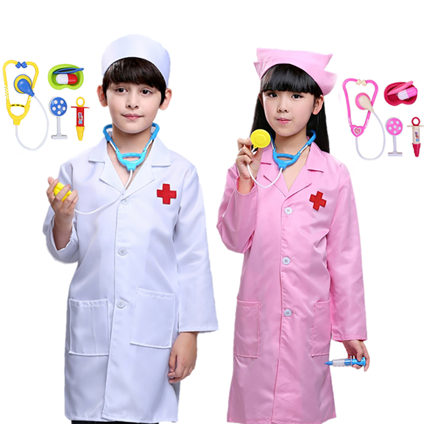 Cosplay Doctor Nurse Carnival Party Halloween Costumes For Kids Baby Girl Boy Uniform Children's Day Fancy Hospital Clothes Set