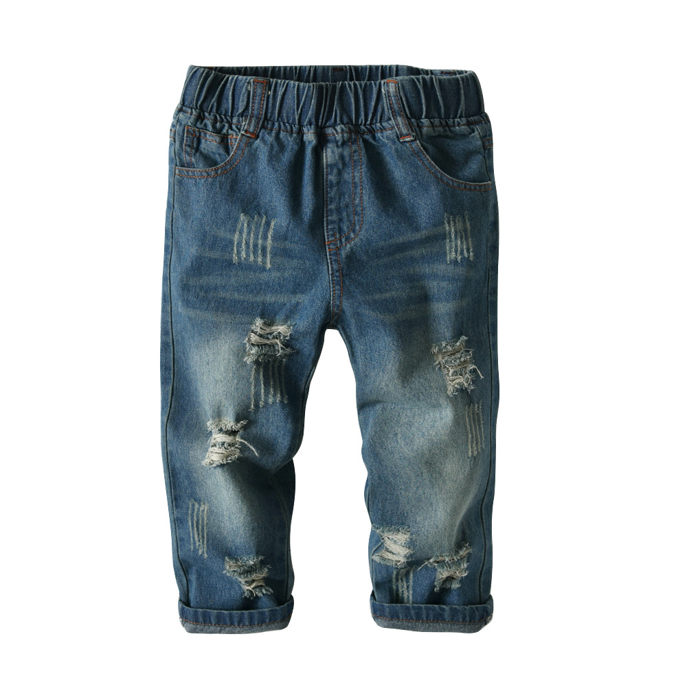 Kids Boys Ripped Jeans 2020 Spring Summer Autumn High Quality Teenager Trousers Casual Children Broken Hole Jeans 2-7 Years