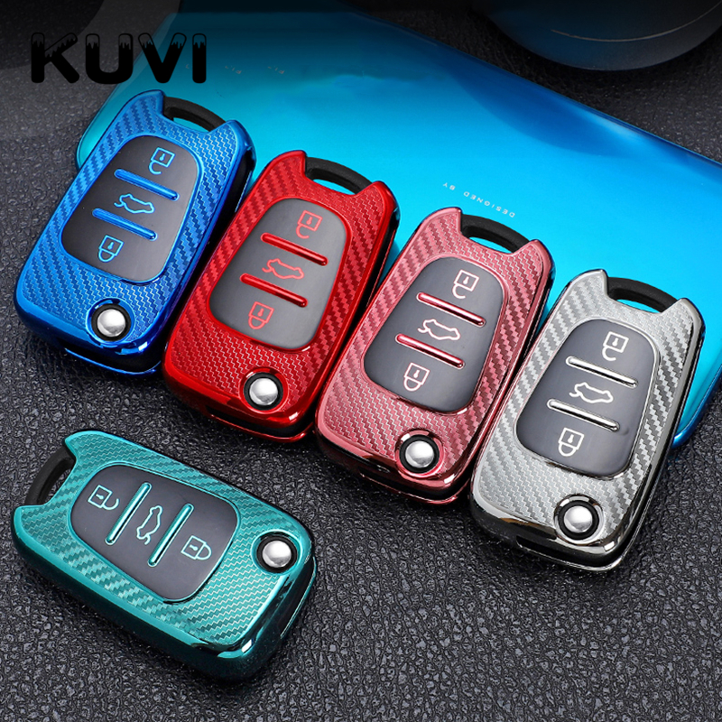 Full Cover Carbon Fiber TPU Car Key Case Remote Key Shell For Hyundai i20 i30 ix35 For Kia Ceed Picanto Sportage Accessories