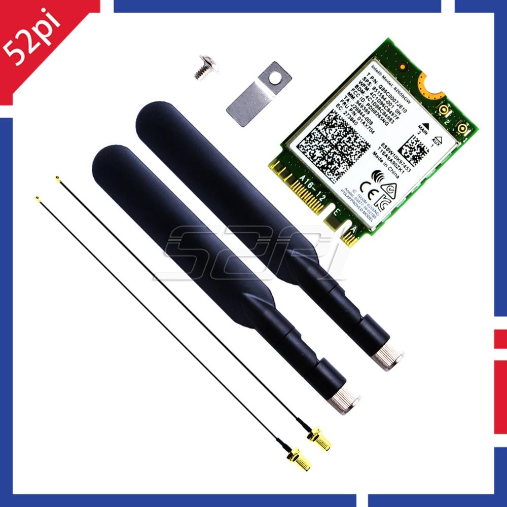 52Pi AC8265 Wireless NIC Module2.4G/5G WiFi Bluetooth 4.2 Antenna For Jetson Nano Support Linux / Windows 10/8.1/8/7