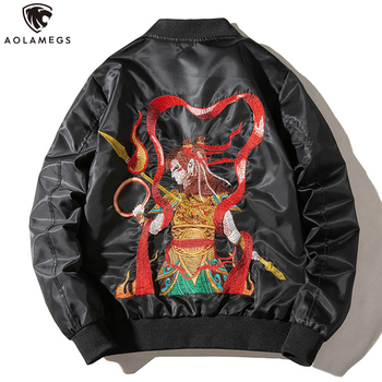 Aolamegs Jacket Men Chinese Ancient Embroidery Coat Advanced Two Thicknesses Optional Casual Windbreaker High Street Streetwear