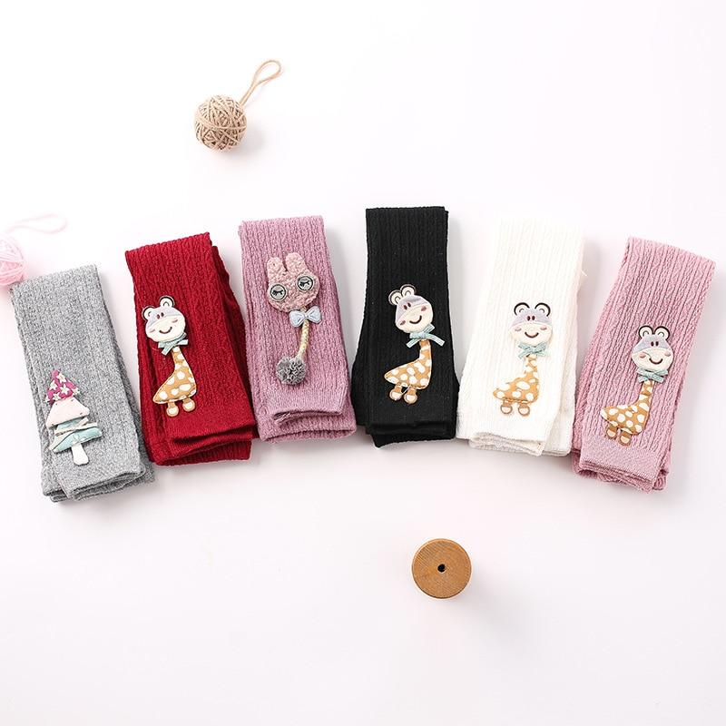 9/10 Length Cotton Cartoon Baby Pants Girls  Baby Pantyhose Spring New Children's Pantyhose Toddler Girl Knit Tights
