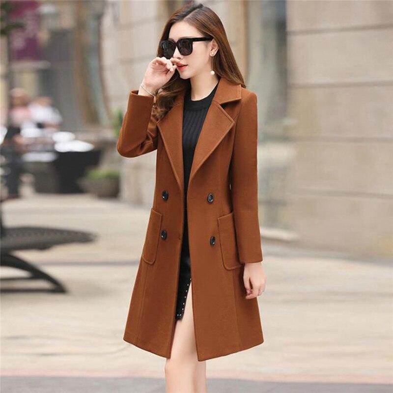 Женское хлопковое пальто, новинка, Осень-зима, средней длины, свободное, двубортное, облегающее, Женский Теплый Тренч, верхняя одежда