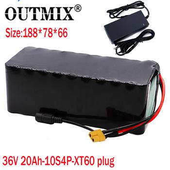 OUTMIX 36V 20AH 16ah 13 6ah 9Ah bateria do rowerów elektrycznych wbudowana bateria litowa 20A BMS z akumulatorem Ebike 42V 2A tanie i dobre opinie 10-20ah 36 v 185*80*70mm 182*68*58mm
