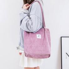 Women Corduroy Shopping Bag Female Canvas Cloth Shoulder Bag
