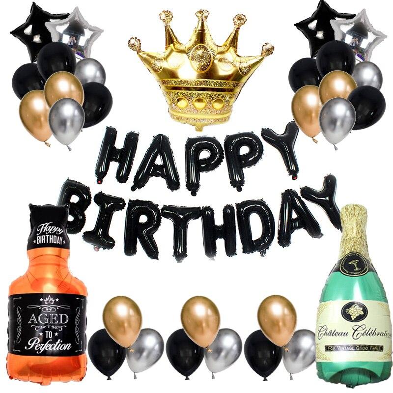 Happy Birthday balloons Metallic Balloon Wine Bottle Ballons Birthday Party Decorations Adult Kids Helium Foil Latex Baloon