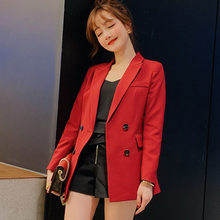 Women's single suit 2019 autumn and winter new slim slimming solid color fashion casual jacket temperament wild women's clothing(China)