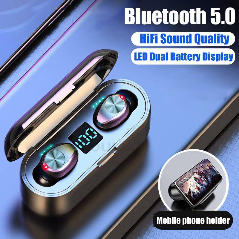 VOULAO Bluetooth 5.0 Earphone 8D Stereo Wireless Headphones Sport Waterproof Handsfree Earbuds Headset With 2000 MAh Power Bank