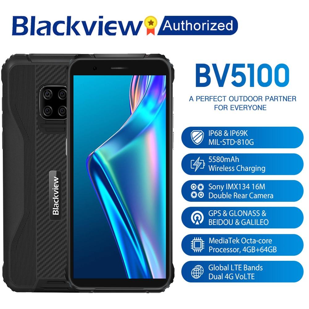 Blackview BV5100 IP68 Waterproof Rugged Smartphone 5.7'' Screen Android 10 Helio P22 Octa Core 4GB 64GB ROM Mobile NFC 5580mAh