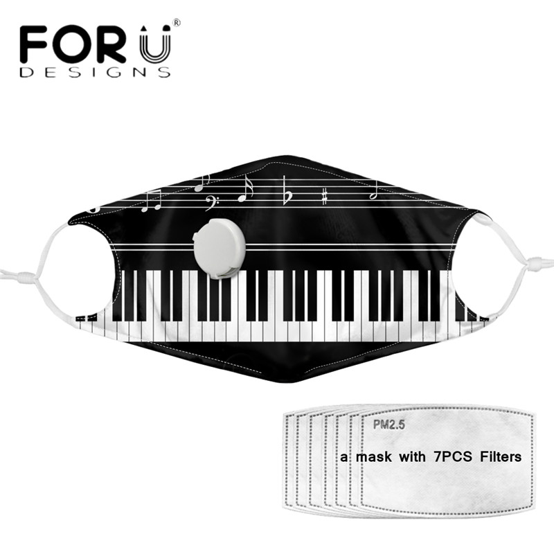 FORUDESIGNS Face Mouth Cover Masks Funny Music Piano Printed With Respirator PM 2.5 Filters Washable Elastic Mascara Tapabocas