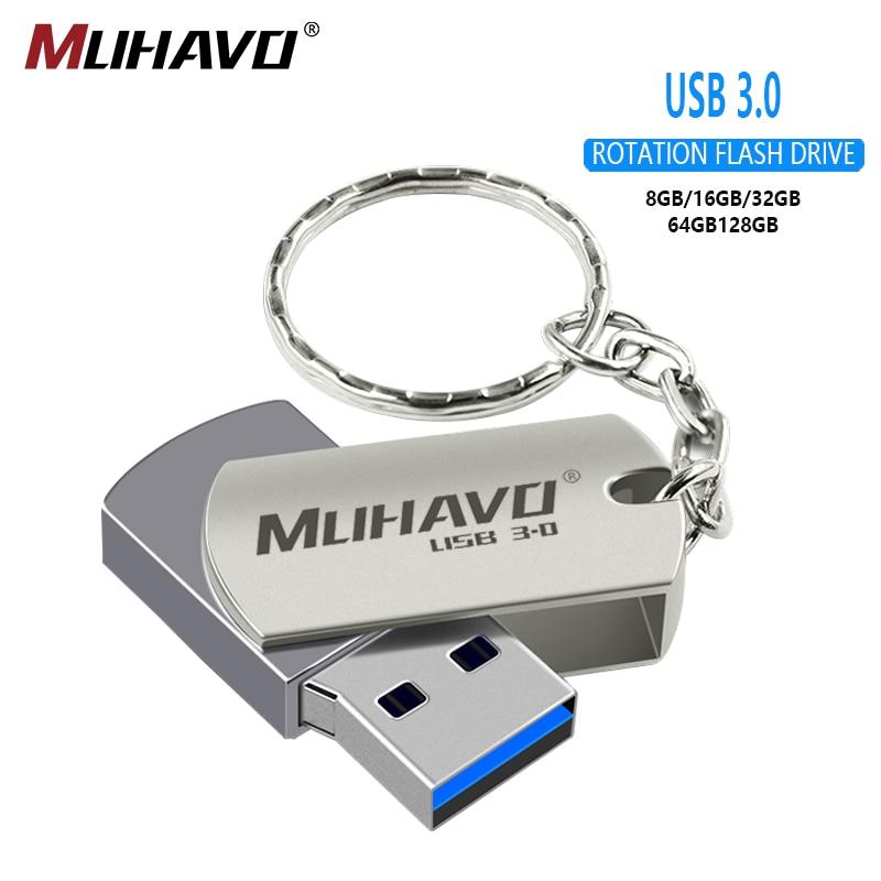 USB 3.0 Flash Drive 64GB 32GB 16GB Metal Pen Drive 128gb Rotatable Usb Flash Drive 3.0 8gb Pendrive Memory Stick Custom Logo