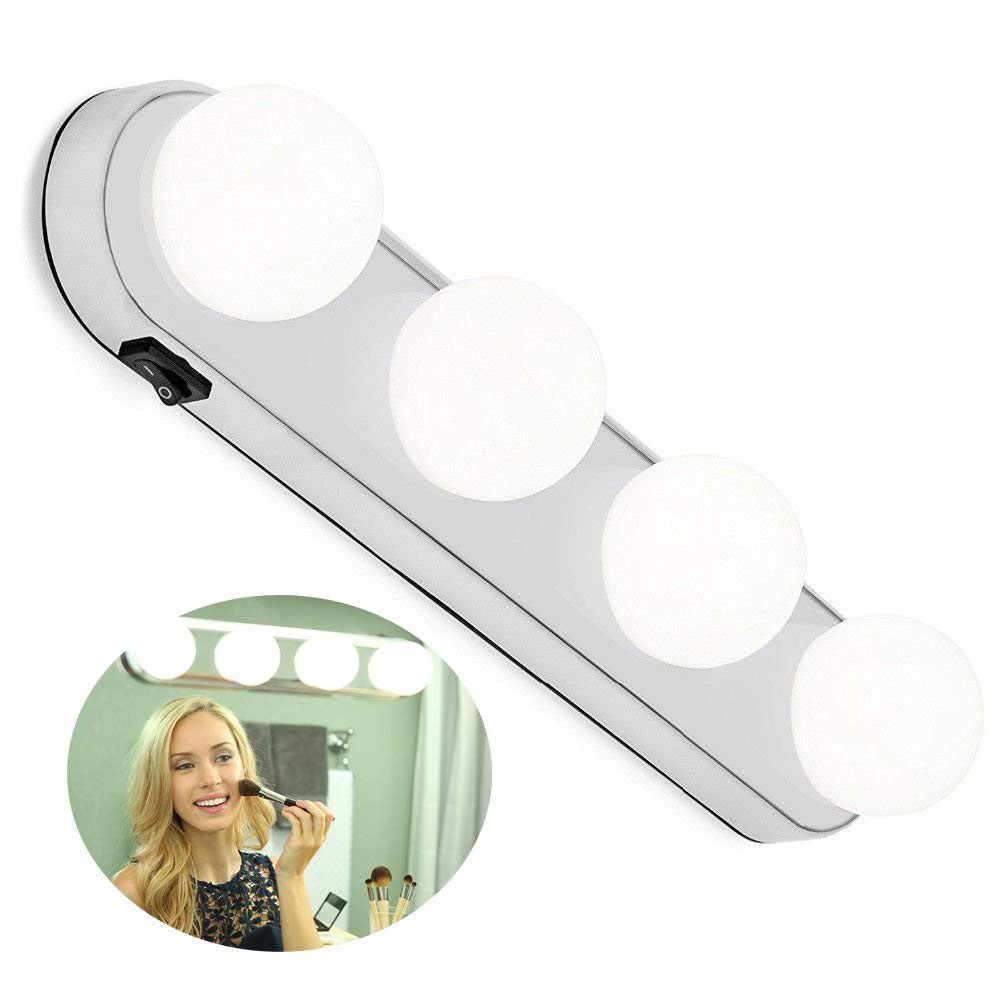 Portable LED Vanity Mirror Lights,Studio Glow Vanity Make-up Light Natural Light For Makeup Dressing Table With 4 LED Bulbs