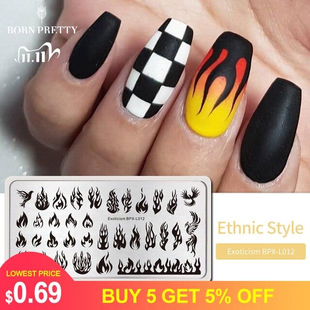 Geboren Pretty Fire Nail Stempelen Platen Blaze Serie Rechthoek Template Nail Art Image Plate Exotisme Stencils