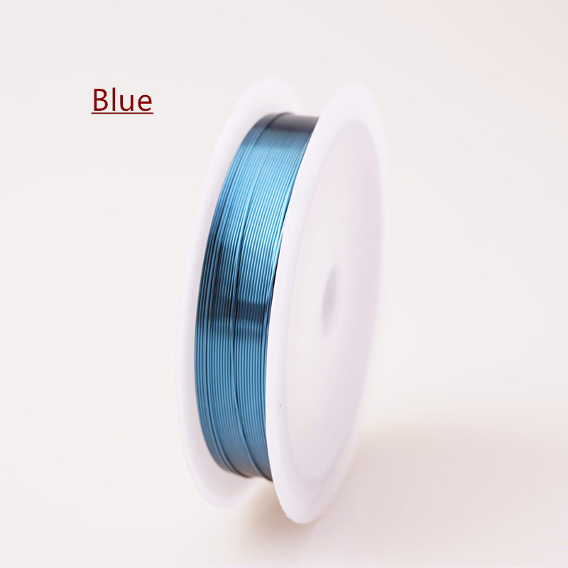 Четырехслойный разноцветный комбинезон серебро Медный провод для браслет Цепочки и ожерелья самодельные Украшения, Аксессуары 0,2/0,25/0,3/0,5/0,6/1,0 мм ремесло Бисер провода HK018 - Цвет: Blue