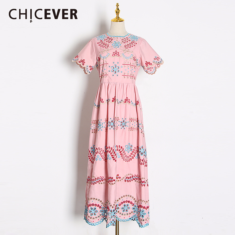 CHICEVER Print Indie Folk Hit Color Print Dress For Women Square Collar Short Sleeve High Waist Dresses Female 2020 Fashion