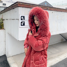 New Winter 2019 Casual Snow Jackets Coats Sustans Fur Hooded Pockets A Line Thick X Long Zipper Solid Parka Women Plus Size