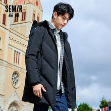 Hooded Jacket Down-Coat SEMIR Men Winter New Warm Retro for Man British-Style Mid-Length