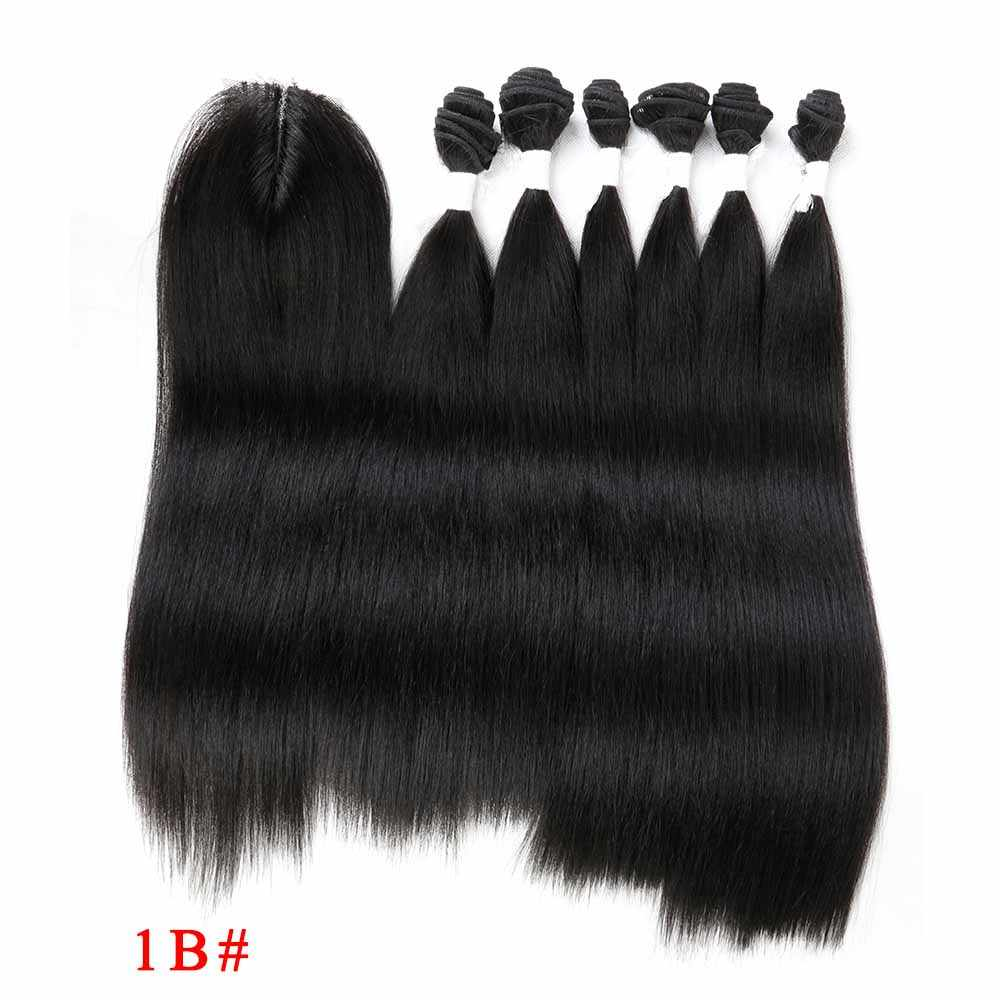 SOKU Hitam Biru Ungu Merah Rambut Sintetis Bundel dengan Penutupan 14-18Inch Yaki Rambut Lurus Tenun 6 Bundel dengan Renda Penutupan