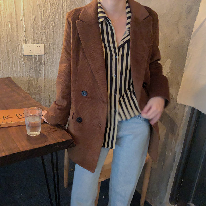 HziriP Autumn New Brown Corduroy Warm Vintage 2019 Streetwear Fresh Brief All-Match Retro High Quality Office Lady Solid Blazer