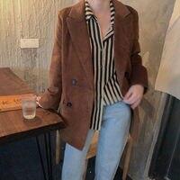 HziriP Autumn New Brown Corduroy Warm Vintage 2019 Streetwear Fresh Brief All Match Retro High Quality Office Lady Solid Blazer