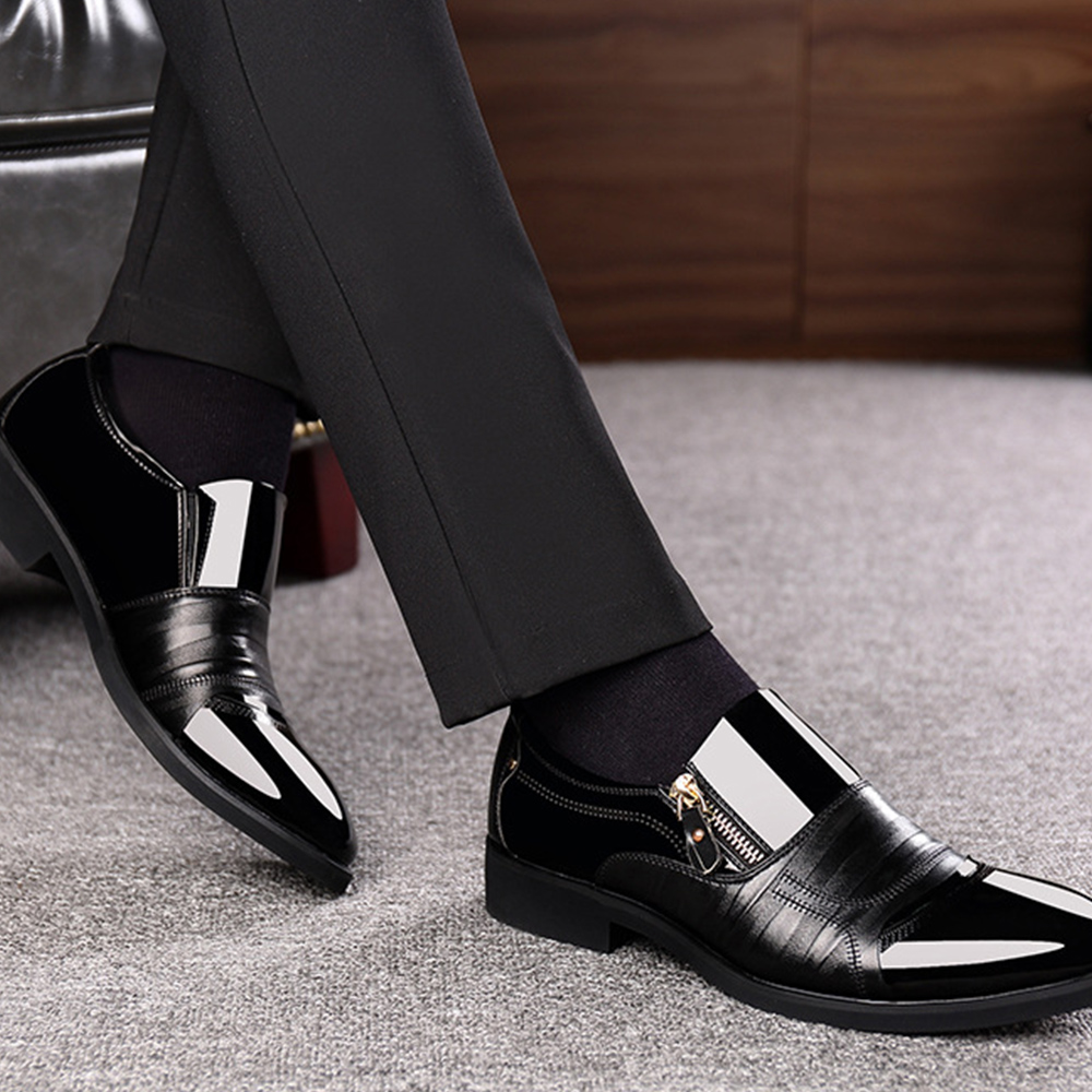 Men Patent Leather Formal Shoes Business Pointed Toe Dress Shoes Fashion Classic Slip on Office Wedding Oxford Suit Shoes