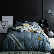 Evich Four Seasons New 100% Cotton Solid Color Embroidery Cloth Bed Sheet Products Four-piece Set Cotton Fashion Color