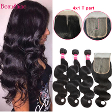 Hair-Bundles Closure Body-Wave 4x1 Brazilian-Hair with T-Part Weave Lace