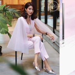 wholesale 2019 New 2 Piece Set Pink V-neck coat&trousers Fashion Slim sexy Two-piece suit celebrity party dress