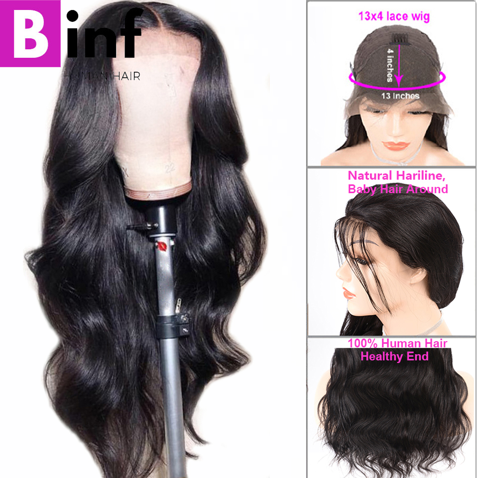 Brazilian Body Wave Lace Front Human Hair Wigs For Women Pre Plucked Hairline With Baby Hair 8-24 Inches Non Remy Hair Color 1B