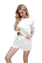 2021ファッション実丸衿睡眠の摩耗tシャツとショーツセット女性パジャマ2個セットホーム服