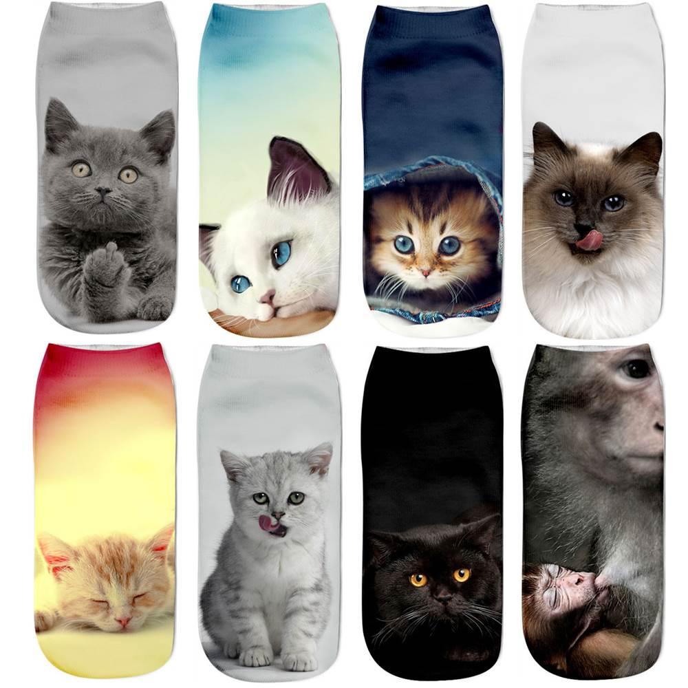 Hot Sell Fashion Women's Socks Funny Cute Cat Animal 3D Print Sock Women Ankle Socks Unisex Physical Picture Cat Female Sock