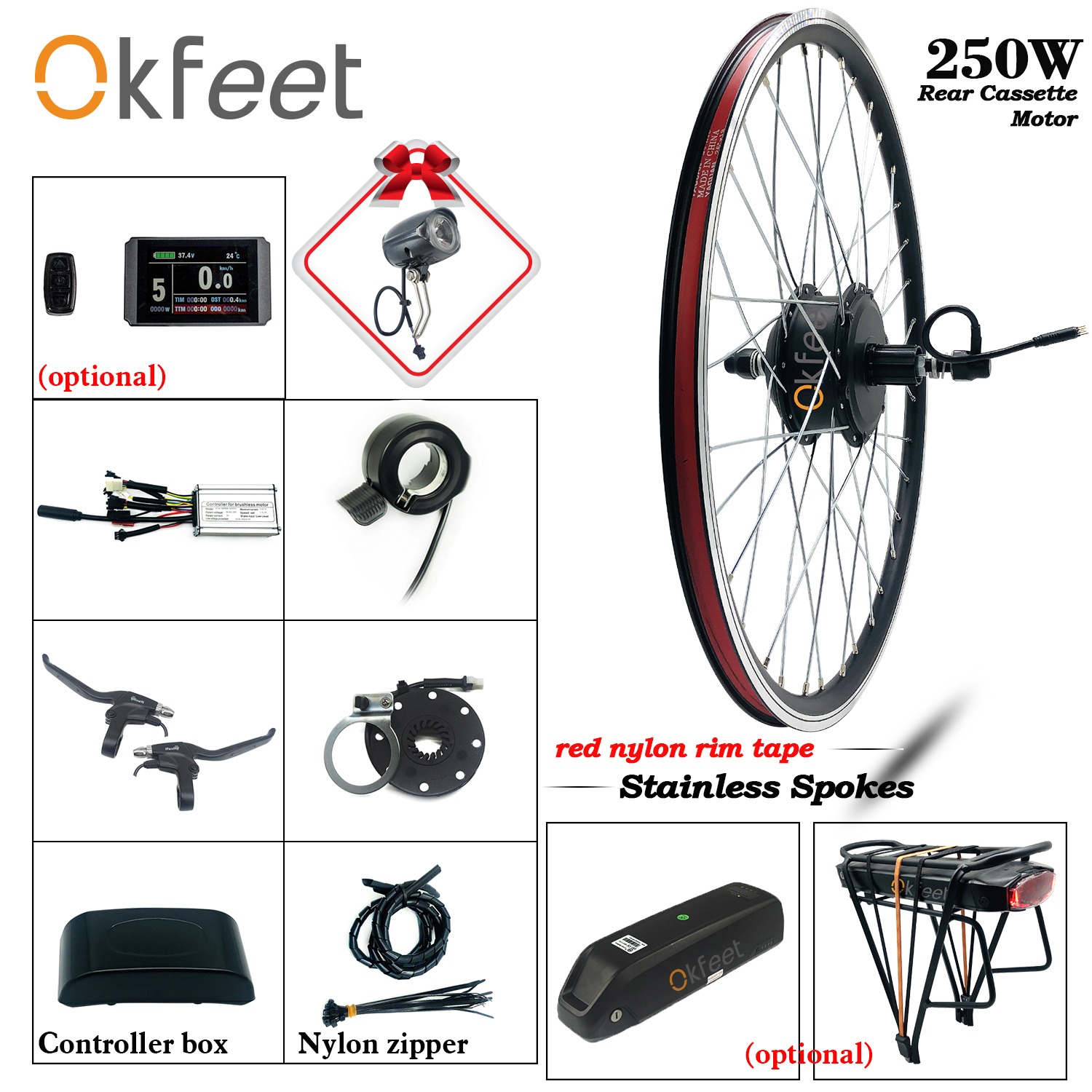 20/'/' Ebike 36V 250W Electric bicycle conversion kit Rear Wheel Hub Motor Rim