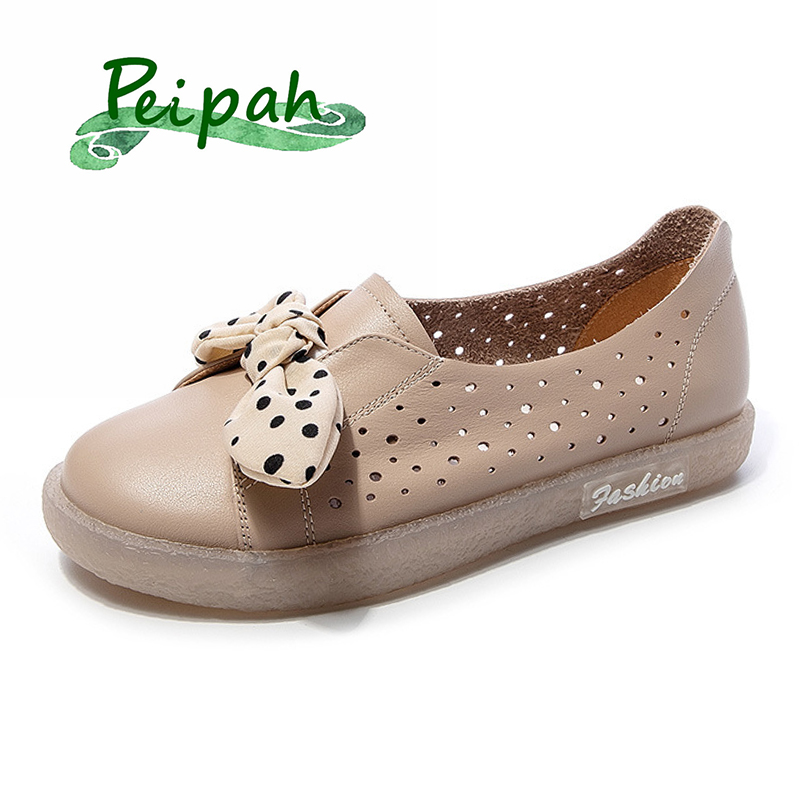 PEIPAH 2020 Summer Genuine Leather Shoes Woman Slip On Ballet Flats Female Shallow Loafers Casual Sweet Ladies Footwear Shoes