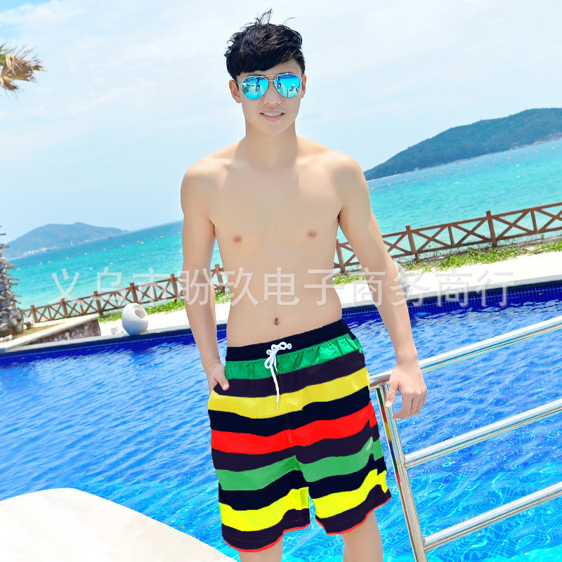 Couples Beach Shorts Korean Quick-Dry Breathable Large Size Short Seaside Holiday Hot Springs Household Men And Women Shorts Oli