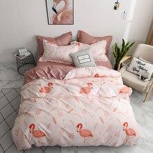 かわいい漫画ユニコーンとフラミンゴ寝具セット熱帯残し布団カバーベッドシート枕カバー新年少女少年