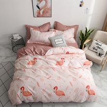 Cute Cartoon Unicorn and Flamingo Bedding Sets Tropical Leave Duvet Cover Bed Sheet Pillowcase New Year Gift for Girl Boy