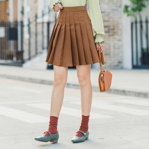 Image 2 - INMAN 2020 Spring New Arrival Literary Preppy Style Age reducing High Waist Pleated Skirt